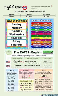 Ficha interactiva The time + Expressing Dates
