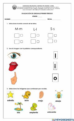 Interactive worksheet Evaluación bimestral virtual de kinder