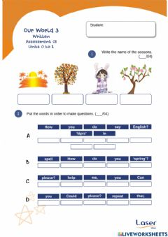 Interactive worksheet Our World 3 - Evaluation Exercises for Units 0 to 2