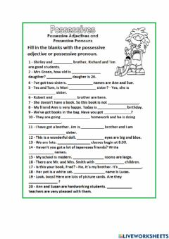 Interactive worksheet Possessive Adjective and Possessive Pronouns