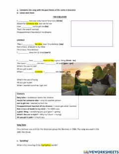 Interactive worksheet I'm a believer - Smash Mouth
