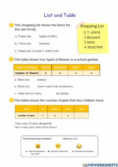 Interactive worksheet Reading list and table