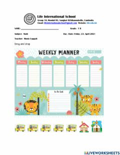 Interactive worksheet Calendar Weekly Schedule