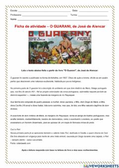 Interactive worksheet O Guarani