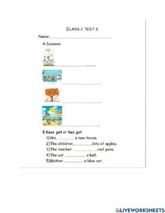Ficha interactiva Grade 3-unit 3-revision test