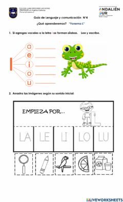 Interactive worksheet Letra L