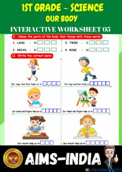 Interactive worksheet 1st-science-ps05-our body