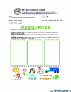 Interactive worksheet Three Types of Resources