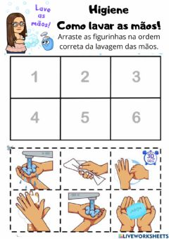 Interactive worksheet Lavar as mãos