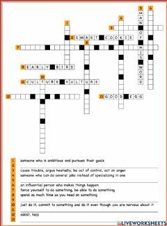 Ficha interactiva Idioms Crossword