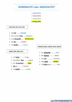 Interactive worksheet Nominativ oder Akkusativ