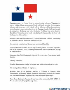 Interactive worksheet Important information to Know from Panama