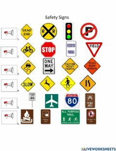 Interactive worksheet Safety Signs