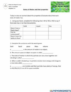Interactive worksheet States of matter and their properties