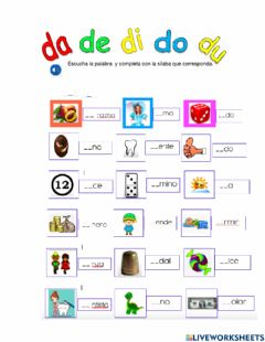 Interactive worksheet Da, de, di, do, du
