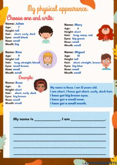 Interactive worksheet My physical appearance