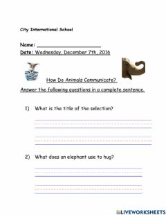 Interactive worksheet How do animals communicate