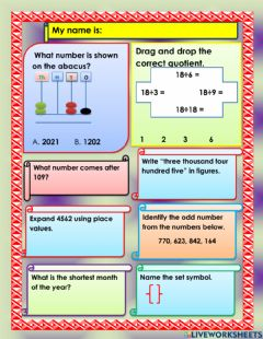 Interactive worksheet Whole numbers