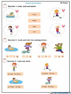 Interactive worksheet Review Unit 6 - I learn smart start grade 1- Ms Sunny
