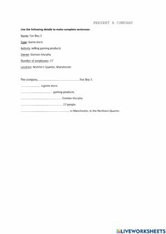 Interactive worksheet Presenting a company