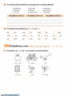 Interactive worksheet c,qu,z