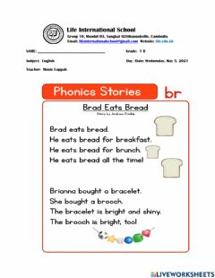 Interactive worksheet Consonant Blend BR Words