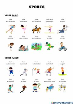 Interactive worksheet SPORTS (Verbes FAIRE et JOUER)