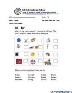 Interactive worksheet Consonant Blend BL and BR Words
