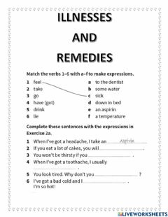 Interactive worksheet Illnesses and remedies