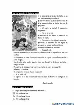 Interactive worksheet Lectura crítica