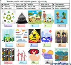 Interactive worksheet 2020-2021 Educational Year, Potpori Revision of 9th Unit (Environment) for 7th Grade Students