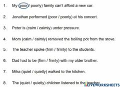 Interactive worksheet Term 3 English Adverb or Adjective