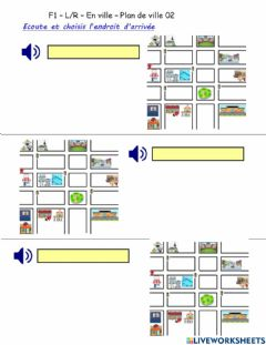 Interactive worksheet F1 - L-R - En ville - Plan de ville 02