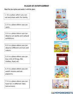 Interactive worksheet Places of entertainment