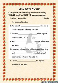 Interactive worksheet Used to vs Would