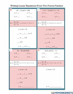 Interactive worksheet Writing Linear Equations From Two Points Practice