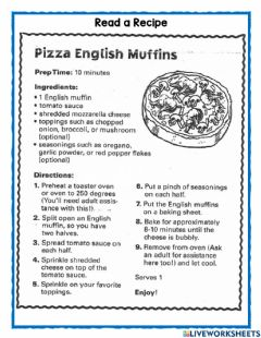 Interactive worksheet Read a Recipe - Real life experiences