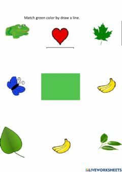 Interactive worksheet Match green color by draw a line in between