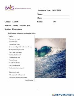 Interactive worksheet Poetry