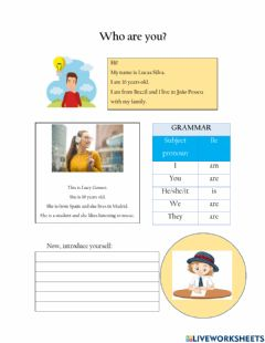 Interactive worksheet Who are you?