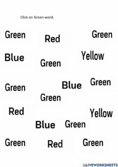 Interactive worksheet Click on Green