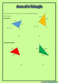Interactive worksheet National 5 - Area of a Triangle