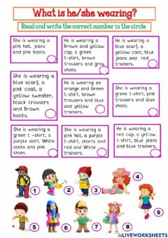 Interactive worksheet 3ro. Primaria. What are you wearing?