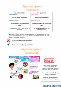 Interactive worksheet Reported speech - theory