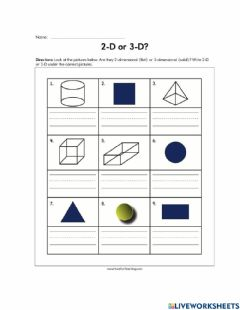 Interactive worksheet 2D and 3D shapes