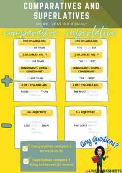 Interactive worksheet Comparatives, superlatives and equality