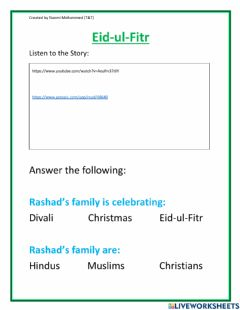 Interactive worksheet Eid-ul-Fitr