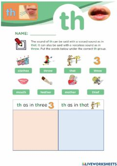 Interactive worksheet TH (voiceless and voiced)