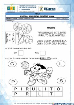 Interactive worksheet Cantiga do pitulito que bate bate
