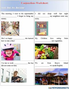 Interactive worksheet Choose:BUT-AND-SO-BECAUSE